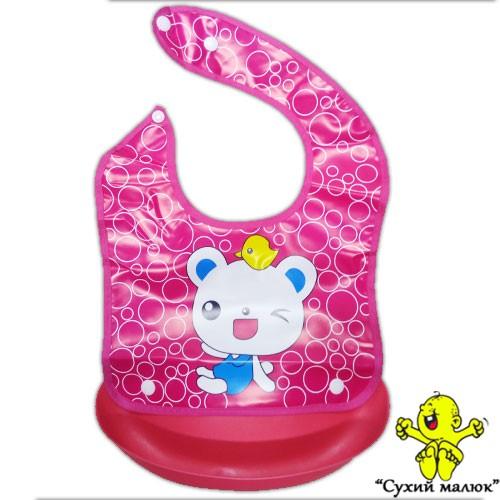 Непромокаючий слюнявчик з кишенькою Ведмежа рожеве, нагрудник розбірний