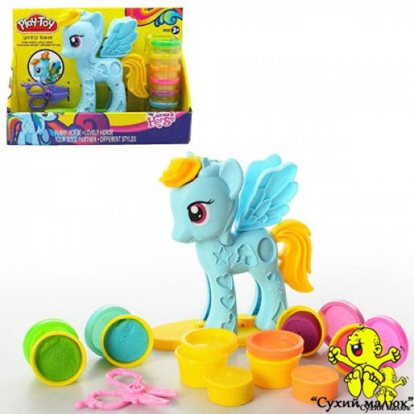 Набір пластиліну Little Horse голубий, 6 кольорів