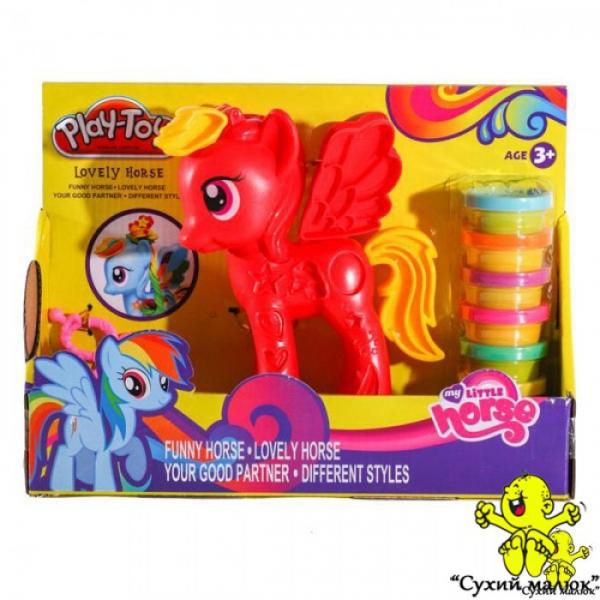 Набір пластиліну Little Horse червоний, 6 кольорів