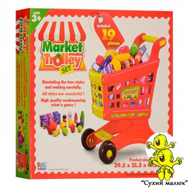 Візок Супермаркет з продуктами, 19 товарів, 49,5-43-9 см, магазин