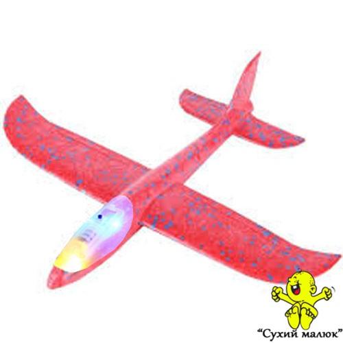 Дитячий планер метальний СВІТЛОвий, літак з пінопласту, червоний 48см