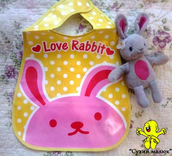 Непромокаючий слюнявчик з кишенькою, нагрудник Кролик