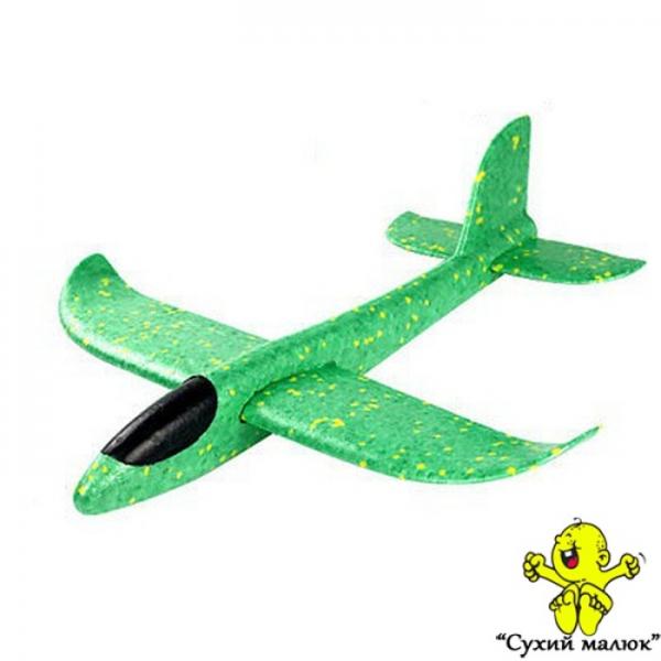 Дитячий планер метальний, літак з пінопласту,зелений 48см