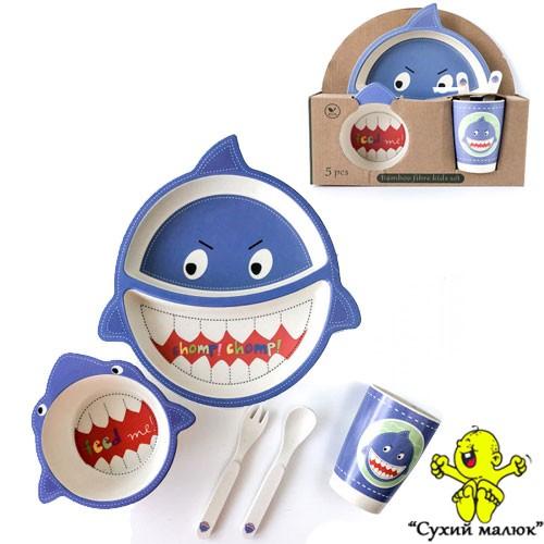 Набір посуду дитячого Eco Bamboo fibre kids set (5 предметів) MH-2775 Shark Акула