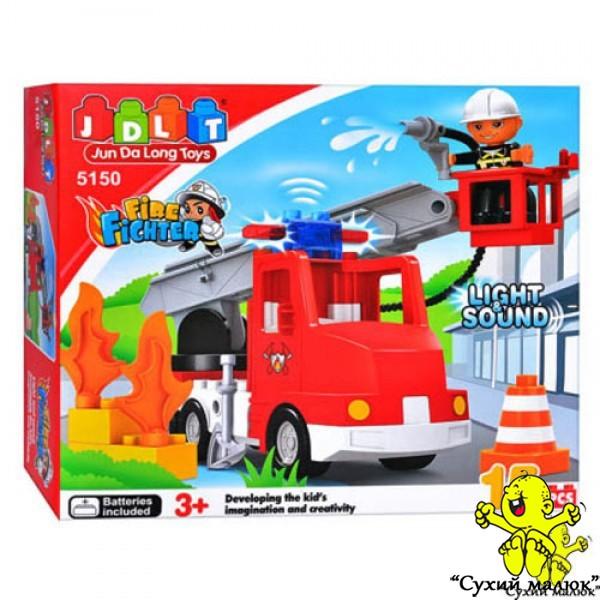 Конструктор Пожежна машина, світло та музика, 5150 15 деталей