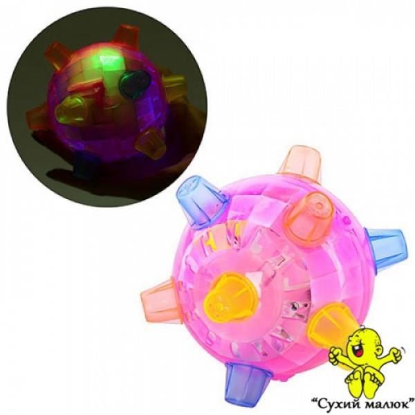 М'яч попригун FJ 9385 13см, музикальний, зі світлом. (рожевий, синій)