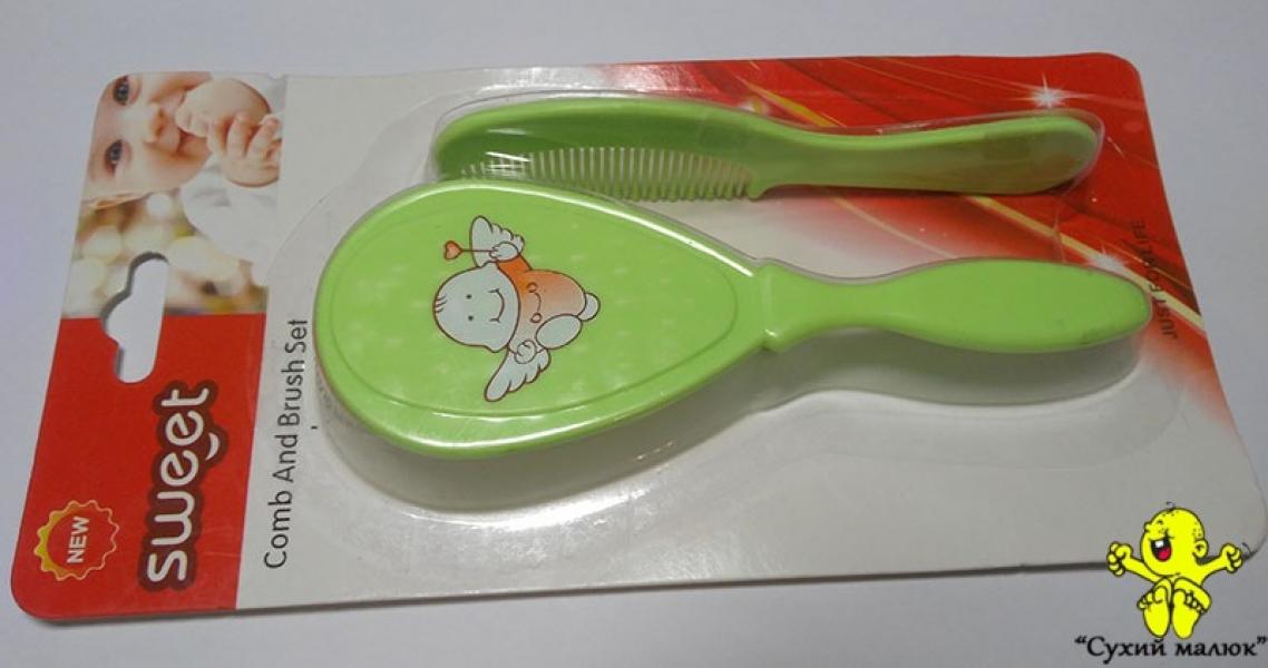 Щітка-гребінець для малюків з захистом салатова