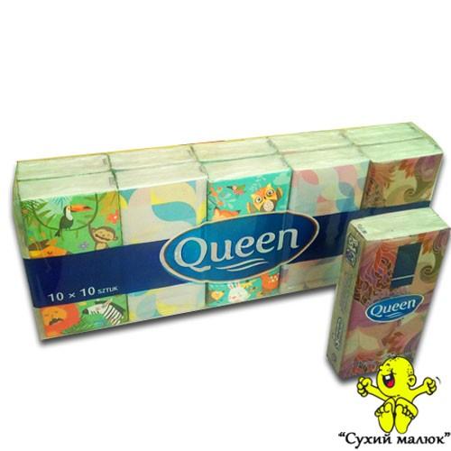 Серветки сухі, блочки Queen (10 уп/блок) 4-х шарові