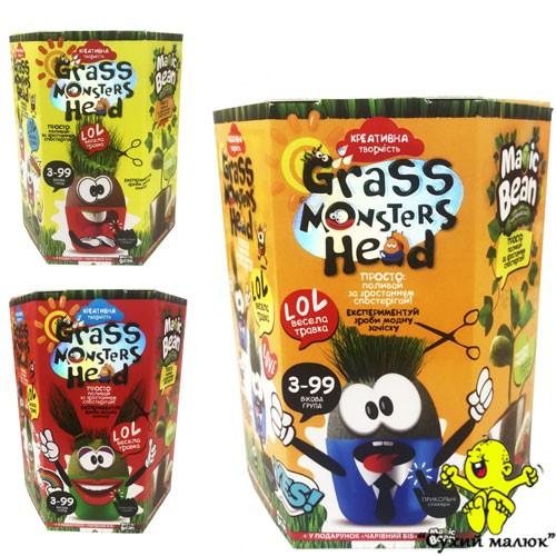 Набір для творчості Grass Monsters Head Зростаючі вихованці Чарівний Біб у подарунок Danko Toys GMH-01-01U