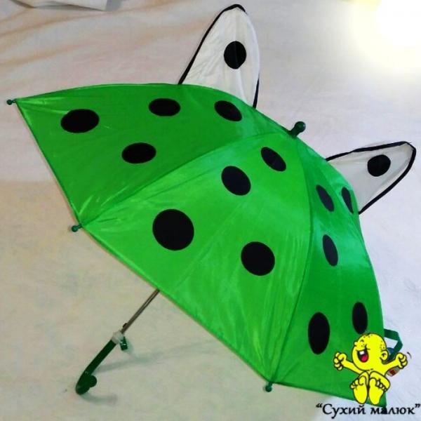 Парасоля дитяча з вушками Зелена 47,5см. свисток, арт.0211