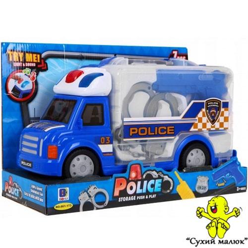 Машинка BabyYes поліція набір ігровий, звук, світло пістолет, наручники 661-173