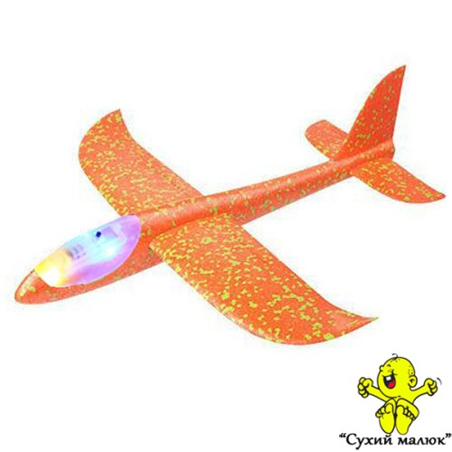 Дитячий планер метальний СВІТЛОвий, літак з пінопласту, оранжевий 48см