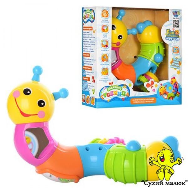 Багатофункціональна іграшка Гусеничка, брязкальце 6міс.+
