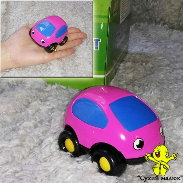 Машинка Кроха рожева металева, інерційна 8см. арт.803021