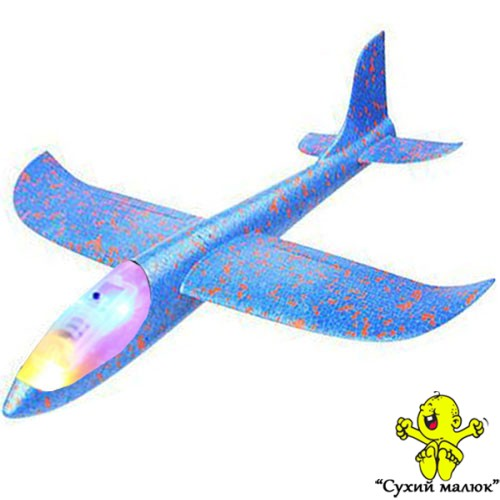 Дитячий планер метальний СВІТЛОвий, літак з пінопласту, синій 48см