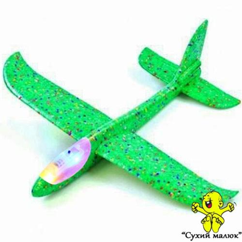 Дитячий планер метальний СВІТЛОвий, літак з пінопласту, зелений 48см