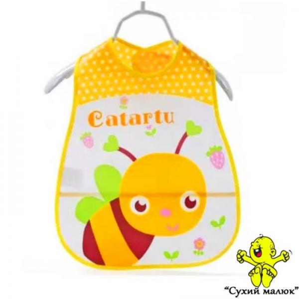 Непромокаючий слюнявчик з кишенькою, нагрудник Бджілка