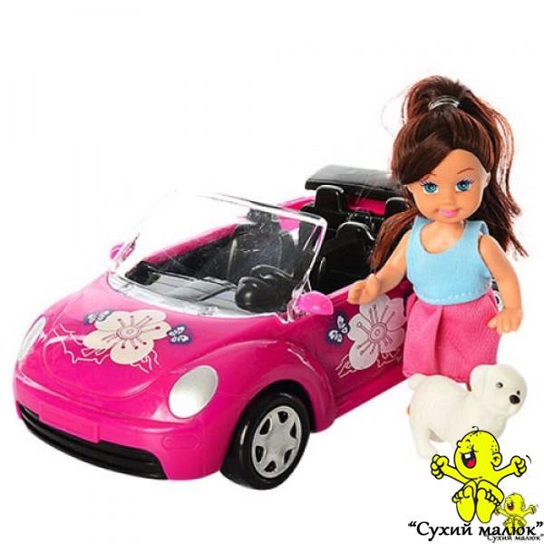 Лялька Аріна на автомобілі з собачкою 21,5см.