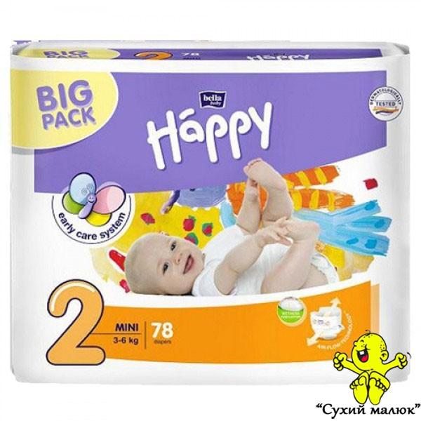 Підгузники Happy Mini2 78шт. (3-6кг) BIG PACK