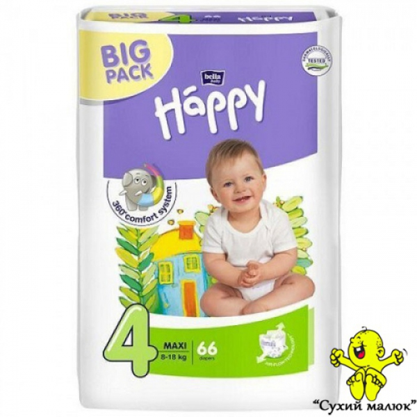 Підгузники Happy Maxi 4 66шт. (8-18кг) BIG PACK