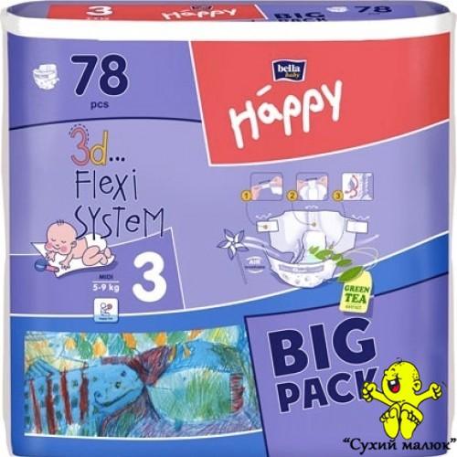 Підгузники Happy Midi3 78шт. (5-9кг) BIG PACK