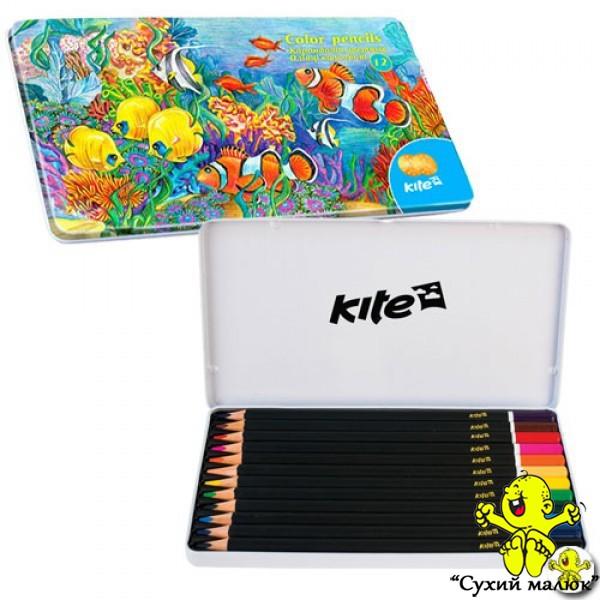 Олівці кольорові Kite 12 кольорів, металевий пенал