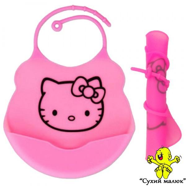 Силіконовий слюнявчик нагрудник Hello Kitty(Кошеня)