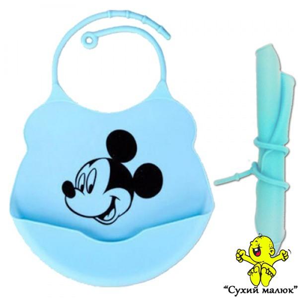 Силіконовий слюнявчик нагрудник Mickey Mouse (Міккі Маус)