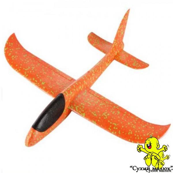 Дитячий планер метальний, літак з пінопласту,оранжевий 48см