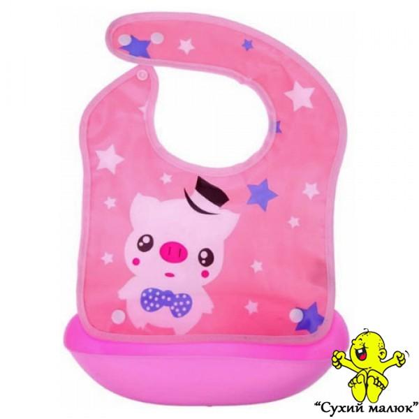 Непромокаючий слюнявчик з кишенькою, нагрудник розбірний рожевий