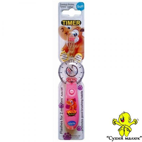 Зубна щітка дитяча Bbrite з таймером SOFT 3р.+ рожева